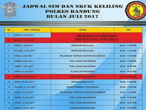 Jadwal SIM Keliling Bandung Juli 2017