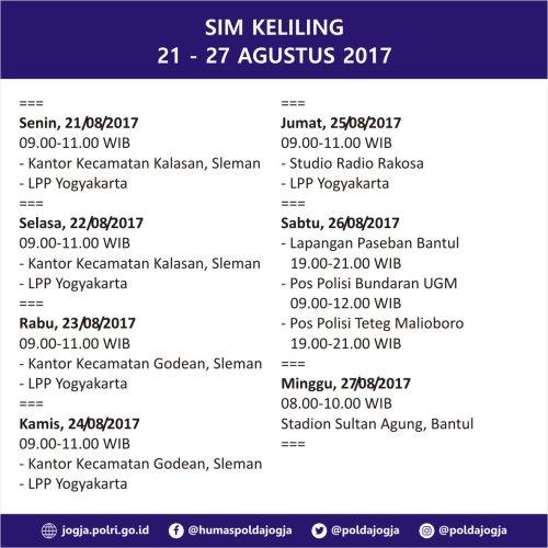 Jadwal SIM Keliling Yogyakarta 21-27 Agustus 2017