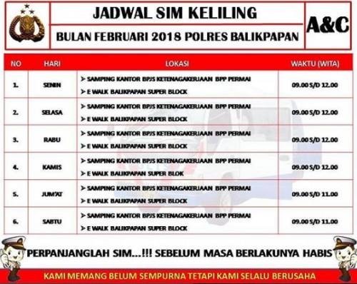 Jadwal SIM Keliling Balikpapan Februari 2019