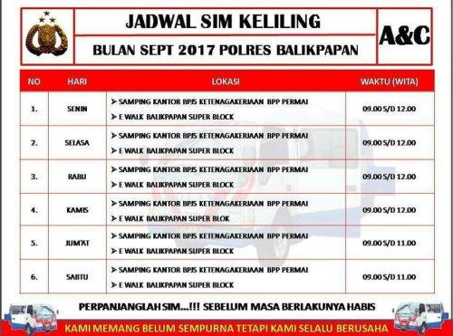 Jadwal SIM Keliling Balikpapan Oktober 2019