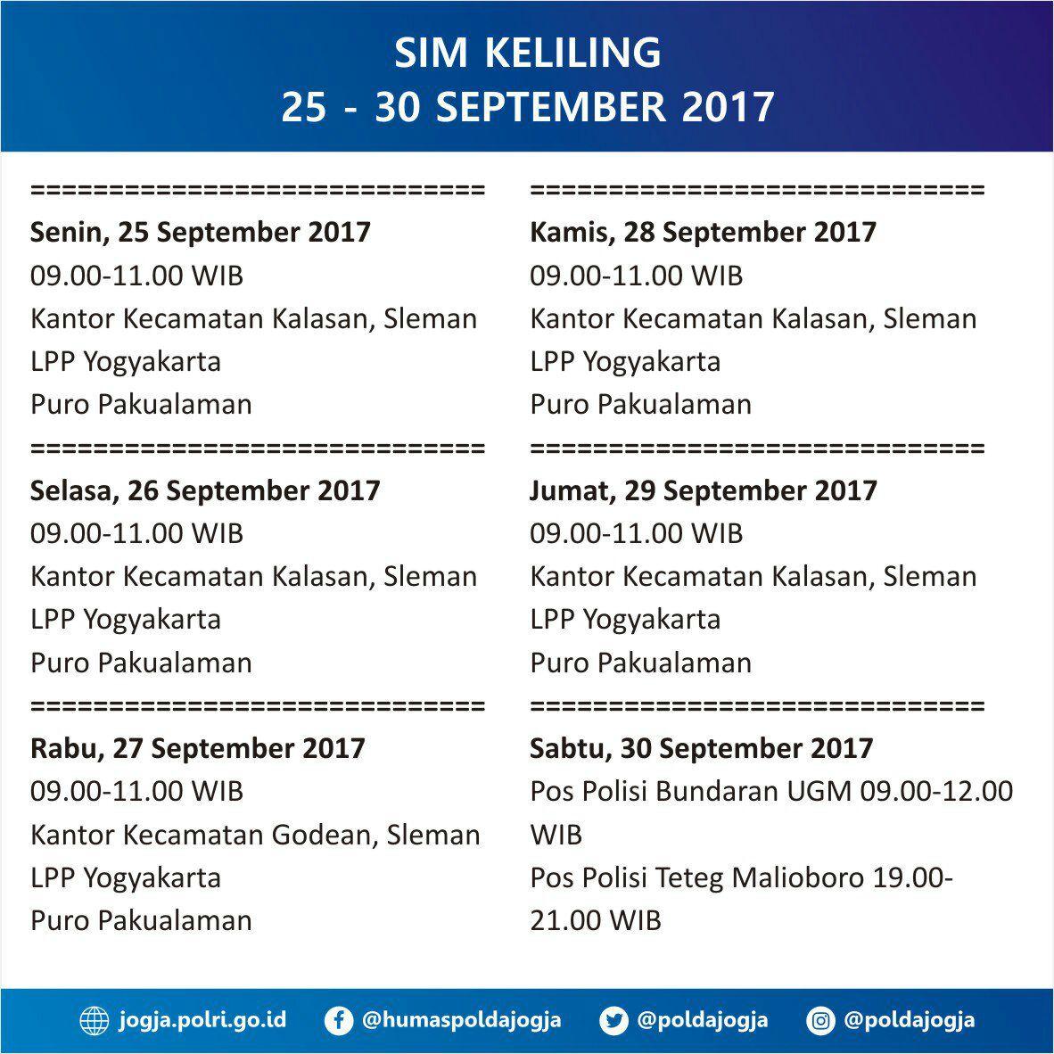 Jadwal SIM Keliling Yogyakarta 25-30 September 2017