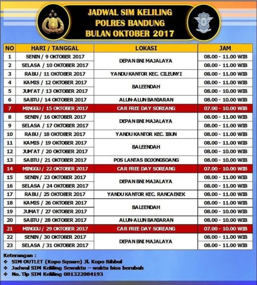 Jadwal Layanan SIM Keliling Polres Bandung Bulan Januari 2017