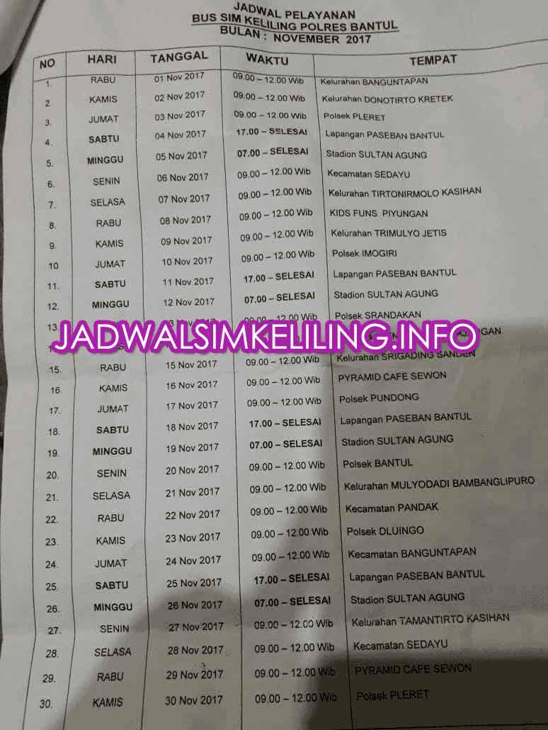 Jadwal SIM Keliling Polres Bantul November 2017