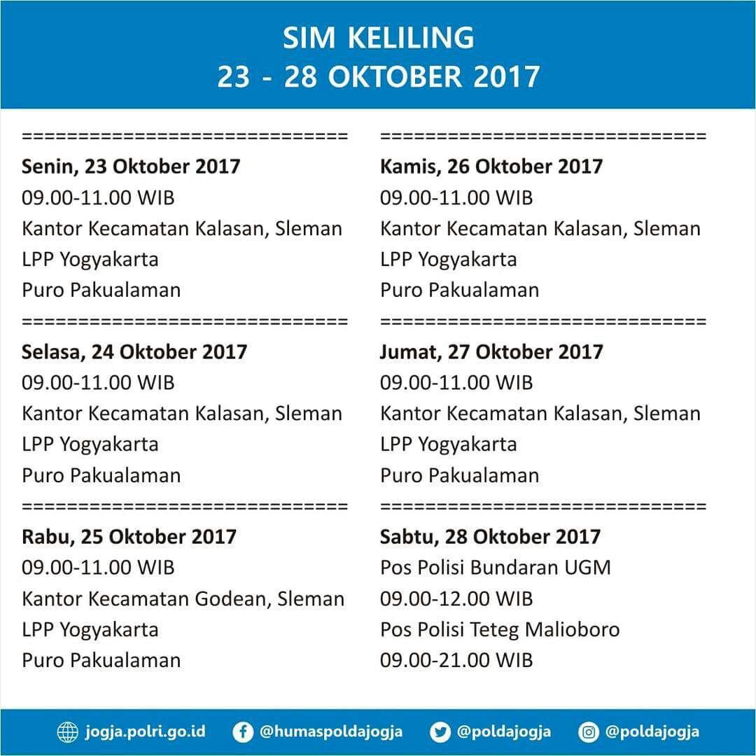 Jadwal SIM Keliling Yogyakarta 23-28 Oktober 2017