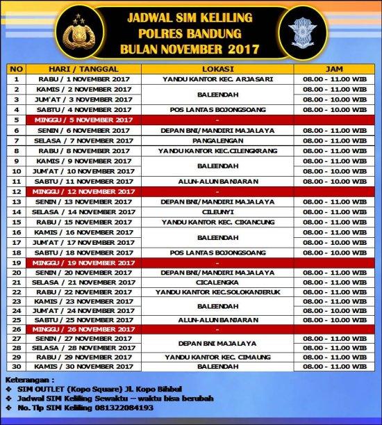 Jadwal SIM Keliling Bandung Desember 2017 - SIM KELILING