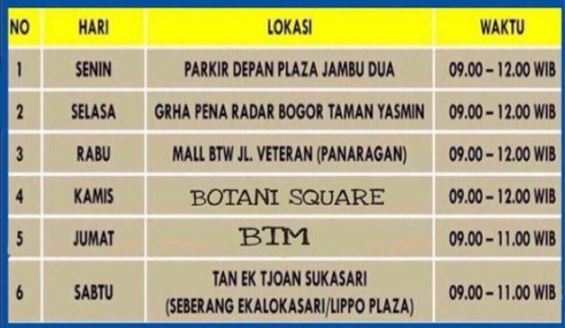 Jadwal SIM Keliling Kota Bogor Februari 2019