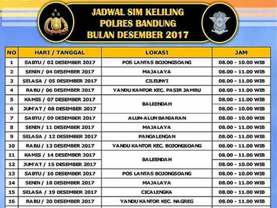 Jadwal Layanan SIM Keliling Polres Bandung Bulan Desember 2018