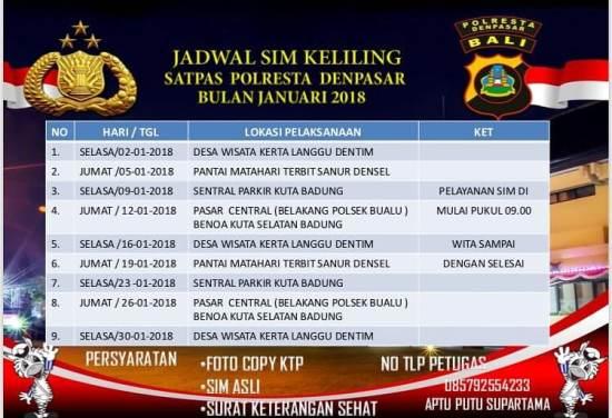 Jadwal SIM Keliling Bali April 2018