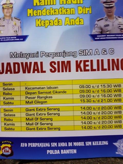 jadwal sim keliling Serang Banten Hari ini 2020