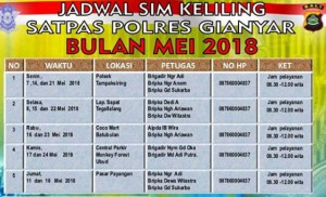 Jadwal SIM Keliling Gianyar Mei 2018