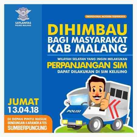 Jadwal SIM Keliling Malang Januari 2021