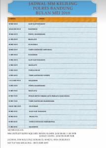 jadwal sim keliling Polres Bandung Mei 2018