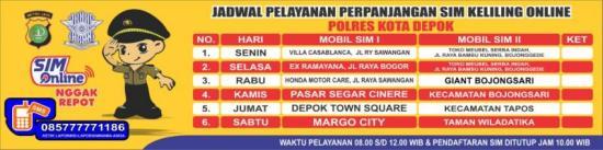 Jadwal SIM Keliling Depok Juli 2018