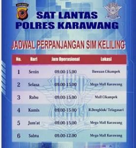 Jadwal SIM Keliling Karawang 2018