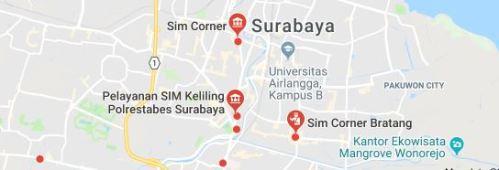 Peta dan Map SIM Keliling di Surabaya Jatim