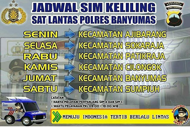 Jadwal SIM Keliling Banyumas April 2019