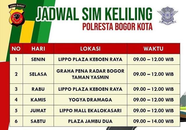 Jadwal SIM Keliling Kota Bogor Juni 2020