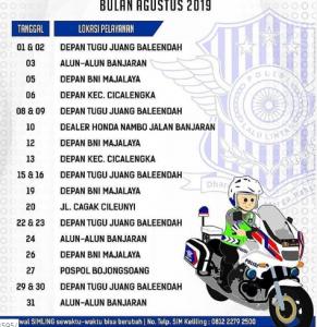 Jadwal SIM Keliling Bandung Lengkap Agustus 2019