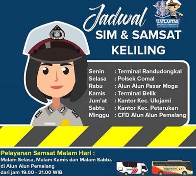 Jadwal Samsat dan SIM Keliling Pemalang Juli 2020