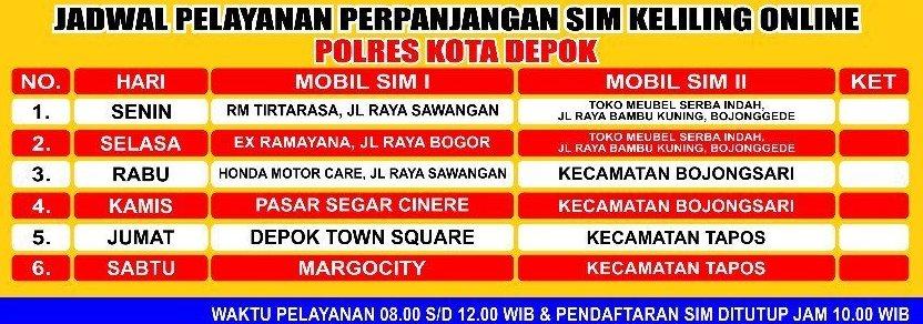 Jadwal Pelayanan Perpanjangan SIM Keliling Online Polres Kota Depok