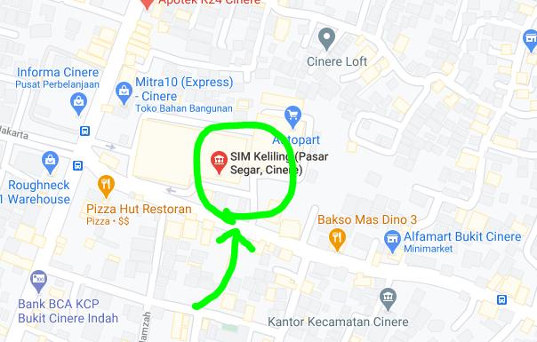 Lokasi layanan SIM Keliling Kota Depok CInere