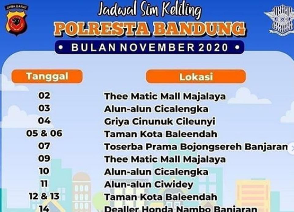 Lokasi layanan dan jadwal SIM keliling Bandung Desember 2020