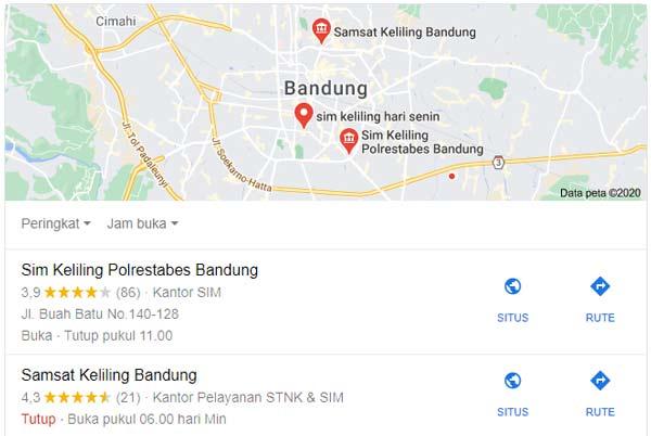 Peta Lokasi SIM Keliling Bandung
