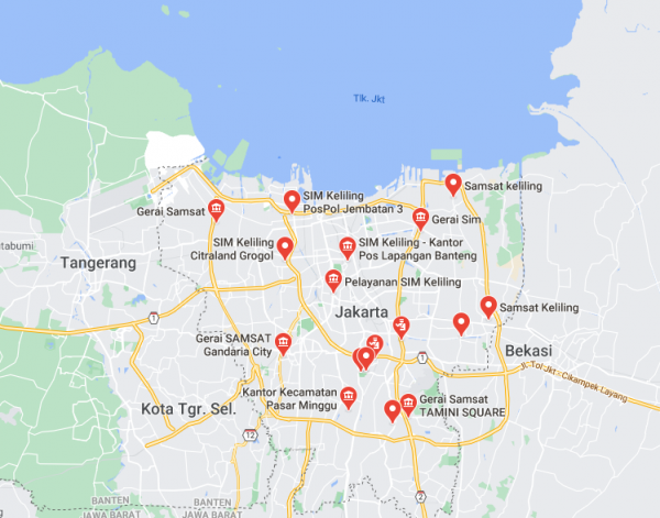 Lokasi-lokasi SIM Corner Jakarta