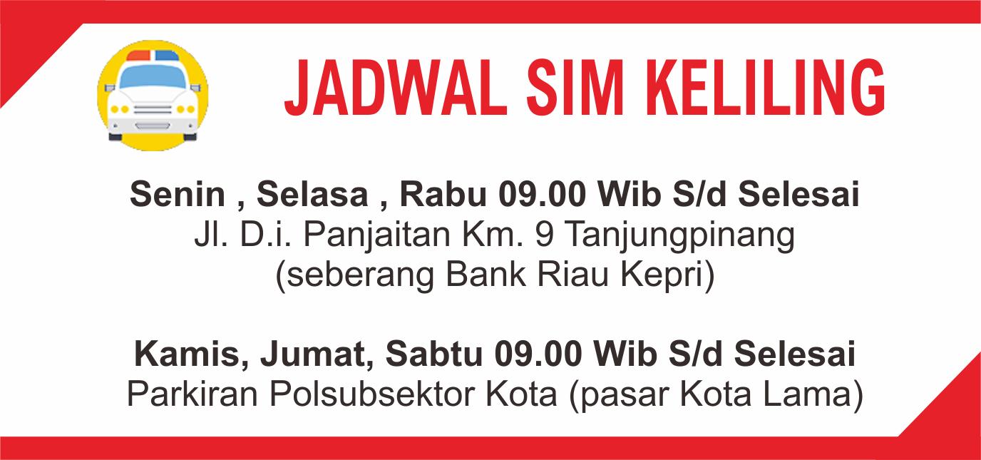 Jadwal SIM Keliling Tanjungpinang daerah kepulauan Riau